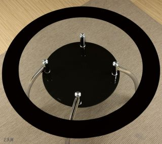 New 5pc Tulsa Modern Round Tinted Black Glass Chrome Metal Dining Table Set