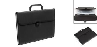 Button Closure Black Plastic File Document Holder Organizer 13 Slot Briefcase