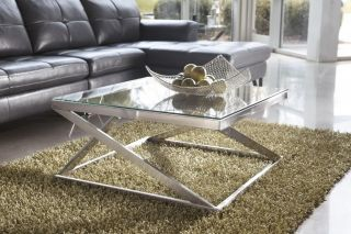Living Room Modern Contemporary Square End Glass Table Brushed Nickel Color
