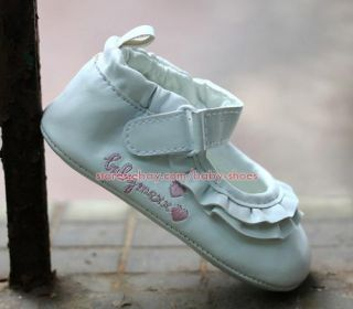 Baby Girl White Ruffled Dress Shoes Infant Crib Mary Jane Size 1 2 3