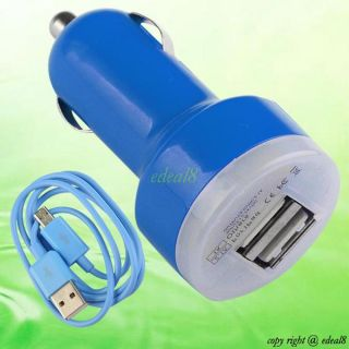 For Samsung Mobile Phone Dual USB Port Car Charger Micro USB to USB Cable Cord