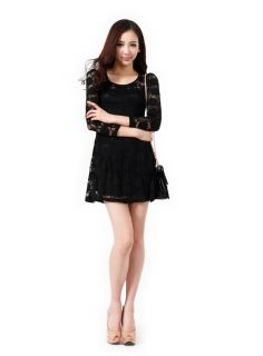 Sexy New Ladies Womens Full Floral Lace Long Sleeve Skater Skirt Dress