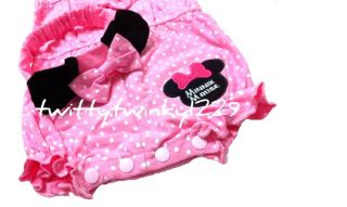Baby Girl Minnie Mouse Polka Dots All in One Jumpsuit 2 Pcs Set Headband NB 24M
