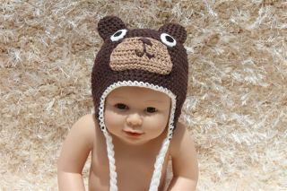 Cute Handmade Cotton Brown Teddy Bear Baby Knit Crochet Hat Newborn Photo Prop