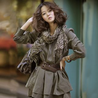 Korean Women Army Green Casual Long Sleeve Crewneck Mini Dress with Free Belt