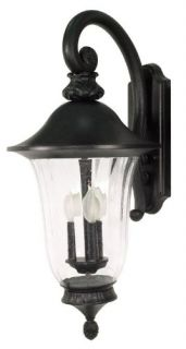 "Nuvo Outdoor Wall Mount Lantern Light Fixture Black 3 Lamp Glass 27"" 60 980 New"