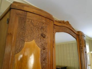 French Antique Art Deco Armoire Wardrobe 3 Door Carved Roses Walnut Shelves