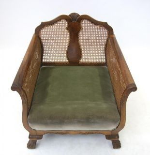 French Art Deco Armchair Walnut Bergere Caned 1920s 30s Chair Suite