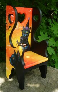 OOAK Original HP Halloween Black Cat Mouse Witch Raven Moon Large Doll Chair