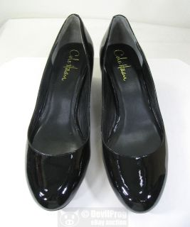 New Cole Haan Nike Air Talia Black Patent Leather Wedge Pump Size 7 B Heels Shoe
