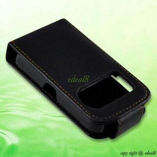 Black Flip Faux Leather Pouch Cover Case Bag for Nokia E5 E71 N97MINI Lumia 820