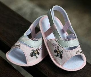 Baby Girls White Minnie Mouse Sandals Shoes Size Newborn to 18 Months