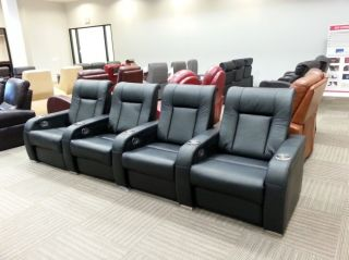Seatcraft HIGHroller 1st Gen Home Theater Seats Row of 4 Black Manual Recniner