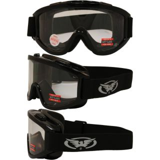 Global Vision Windshield Off Road ATV Goggles Gloss Black Frame Clear Lens