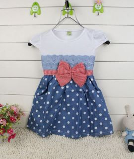 1pc Baby Girl Kids Toddler Infants Polka Dot Dress Skirt Bowknot Blue Clothes