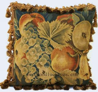 Set 4 Antique Repro French Aubusson Tapestry Weave Decorative Pillow Cushion