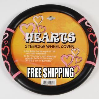 15pc Set Seat Covers Love Story Pink Hearts Black Floor Mat Wheel Belt Head Pads