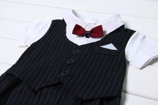 1pc Boy Baby Kid Toddler Infant Bowtie Gentleman Romper Jumpsuit Clothes Outfit