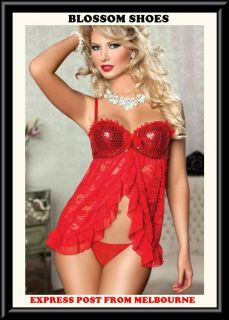 Sexy Lingerie Red Ruffles Sequin Floral Sheer Babydoll Womens Nightie AU s 8 10