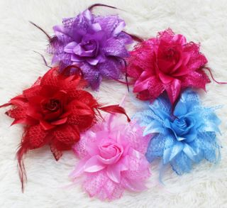 Feather Silk Screen Flower Clip Hair Bow Headband Baby Girl Decoration Grip Pin