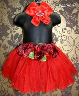 Baby Girl Princess Red Tutu Skirt Crown Headband Set Outfit Photo Prop 3 6 9M