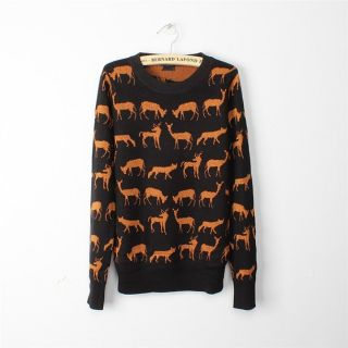 New Womens European Fashion Cute Cat Print Round Neck Knit Sweaters B573