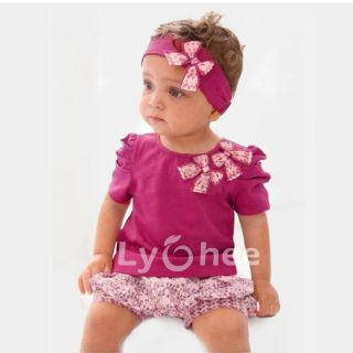 Toddler Baby Infant Clothes Girl Kids Bow Top Pant Headband 3pcs Outfit Set 0 3Y