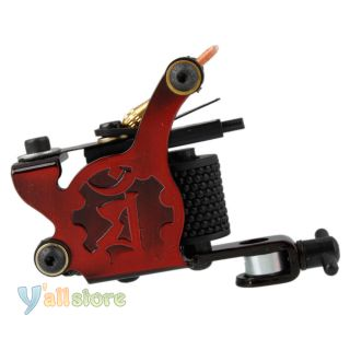 New Beginner Tattoo Machine 8 Wrap Coils Liner Shader Gun Red Color Y 602