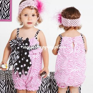 1pc Baby Girl Romper Bodysuit Jumpsuit One Piece Outfit Clothes Bow Zebra Flower