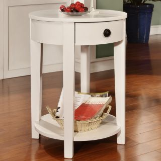 Modern Round Shaped White Wood Accent Chair Side Table Storage Drawer Shelf