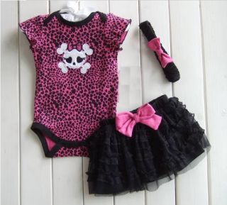 Baby Girl Skull Tutu Dress Skirt Girls Princess Outfit Summer Black Punk Gothic
