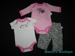 "New ""Born to Shop"" Onesie Pants Girls Winter Clothes 3M"