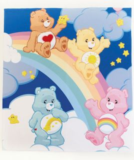 "Care Bears Plush Fleece Throw Blanket 50"" x 60"" Nap Time Reading Watching TV New"