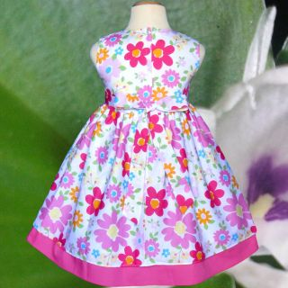 New White Pink Flower Clothing Birthday Party Baby Girls Dress Kids Size 2 5 Y