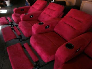 Seatcraft Excalibur Red Row of 4 Seats Home Theater Seating Chairs