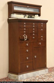Dentist Antique 1918 Oak 20 Drawer Dental Cabinet Marble Base