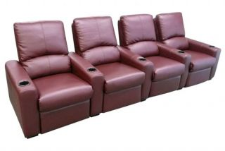 Eros Home Theater Seating 7 Burgundy Seats Push Back Recliner Chairs