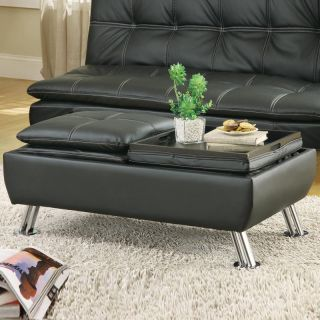 Modern Black Faux Leather Pillow Top Seating Storage Ottoman Accent Tray Table