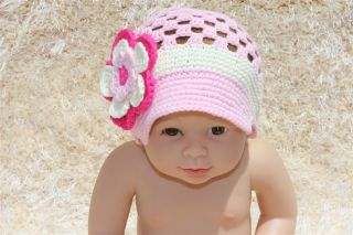 Handmad Knit Crochet Baby Girl Brimmed Hat Newsboy Cap Newborn Photo Prop New