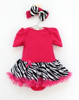2pcs Newborn Baby Girl Headband Romper Dress Clothes Outfit Hot Pink Zebra 3 6M
