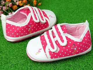 New Toddler Baby Girl Hot Pink White Dots Tennis Shoes Size 3 A706