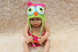 Cute Handmade Cotton Owl Dog Puppy Newborn Baby Knit Hat Nappy Photo Prop New