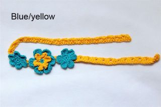 Cute Cotton Handmade Baby Child Crochet Three Flowers Headbands Photograph New