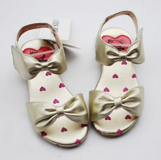 Kids Girl Gold Heart Sandals Mary Jane Bow Shoes US Size 9 5 10 10 5 11 12 12 5