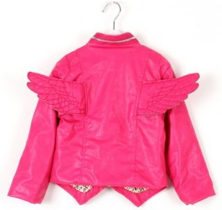 New Trendy Baby Toddler Boys Girls Faux Leather Back Angel Wing Coat Kids Jacket