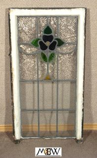 Antique Art Deco Lead Glazed Stained Glass Window