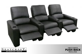 Seatcraft Eros Home Theater Seating 7 Black Seats Push Back Recliners Chairs