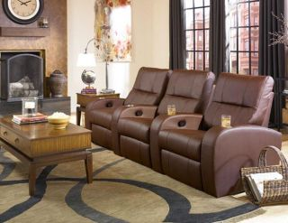 Seatcraft Vader Home Theater Seating 3 Chairs Brown Seats Manual Recliners
