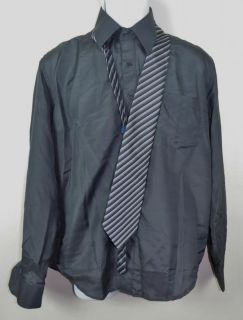 New Aqua Mens Dark Gray Long Sleeve Dress Shirt Tie Size 14 14 5 34 35