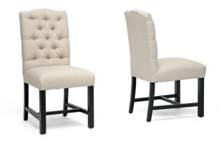 2 Beige Linen Button Tufted Modern Side Parsons Dining Chairs Black Wooden Legs